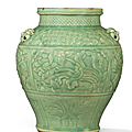 An important and extremely rare carved Longquan celadon <b>jar</b>, Yuan dynasty (1279-1368)