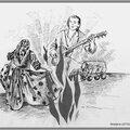 Danse gitane près du feu - Illustration revue Joie de Vivre Berratenco