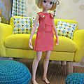 Robe jean orange pour poupées ruruko et corps pure neemo xs