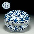 A rare blue and white 'dragon' box and cover, Jiajing six-character mark in underglaze blue within a double circle and of the period (1522-1566)