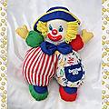 Peluche <b>Doudou</b> Clown Chiffon Multicolore Vintage Berchet
