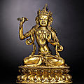 A rare gilt-bronze figure of <b>Vajrapani</b>, Xuande incised six-character presentation mark and of the period (1426-1435)