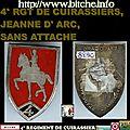 4° RGT DE CUIRASSIERS, JEANNE D' ARC, SANS ATTACHE
