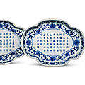 A pair <b>of</b> inscribed <b>and</b> dated blue <b>and</b> white quatrefoil dishes, <b>Jiaqing</b> underglaze blue <b>six</b>-<b>character</b> <b>marks</b> <b>and</b> <b>of</b> <b>the</b> <b>period</b>