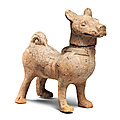 A large Sichuan <b>pottery</b> model of a hound, Han Dynasty