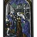 Attributed to the Penicaud workshop, after a design by Albrecht Dürer, French, Limoges, <b>mid</b> <b>16th</b> <b>century</b>, Plaque depicting Joach