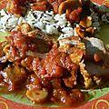 Filet mignon de porc au miel, tomates et champignons