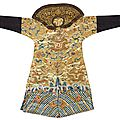 An embroidered silk dragon robe, late qing elements
