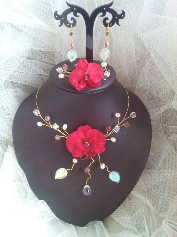 Parure pour mariées qui ont opté pour le thème des orchidées et/ou le rouge