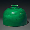 A green-glazed 'beehive' water pot,taibo zun, China, Qing dynasty, 18th-19th century