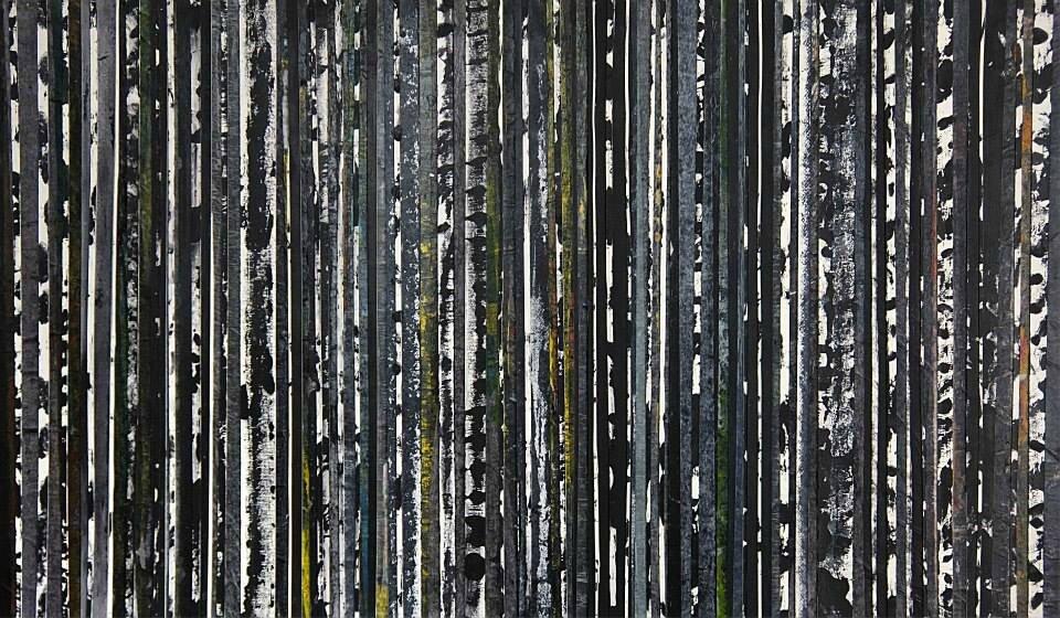 Forêt #59, 2014, acrylique et collage sur toile 100 x 60 cm