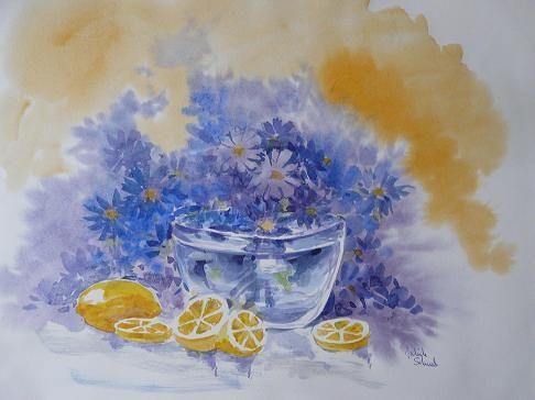 Citrons et Marguerites - Aquarelle