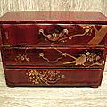 Ancienne Boite Coffre à Bijoux Laque Rouge Japon