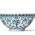 A doucai 'floral-bouquet' bowl, Daoguang six-character seal mark in underglaze-blue and of the period (1821-<b>1850</b>)