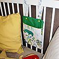 <b>Range</b>-doudou ou <b>range</b>-<b>pyjama</b> jungle à accrocher au lit de bébé