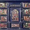 Cabinet on stand: prodigal son cabinet. flemish, antwerp, circa 1650