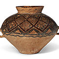 A painted <b>pottery</b> <b>jar</b>, Neolithic period, Yangshao culture, Banshan type, 3rd millenium BC