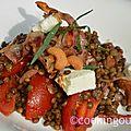 Salade de lentilles verte du puy et sa sauce chaude à la pancetta