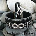 <b>DUO</b> de Bracelet homme et femme en cuir noir cousu et passant infini