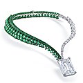 The largest d flawless diamond ever offered at auction. a sensational diamond and emerald necklace, by de grisogono