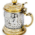 A Baroque part gilt cast and chased silver <b>tankard</b>, Hamburg, 3rd quarter of 17th century, maker's mark of Heinrich Lambrecht II