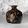 A rare russet-splashed dark brown-glazed truncated vase (tulu ping), Northern <b>Song</b> <b>dynasty</b> (<b>960</b>-<b>1127</b>)