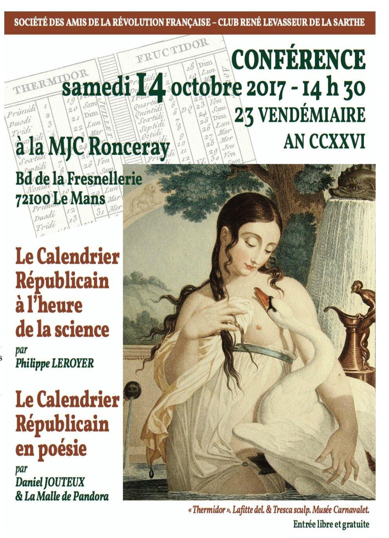 14 octobre 2017 au Mans : Le calendrier républicain.