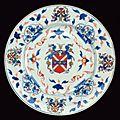 A rare armorial Imari porcelain dish for the American market, circa <b>1716</b>, Kangxi period (1662-1722)