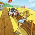 2cv planche deauville dessin humour pays auge 14 plage fille