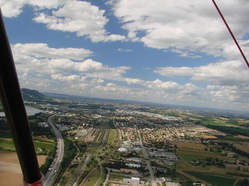 2008 07 07 Vu aérienne depuis l'ULM d'Etoile sur Rhône en direction de Crussol