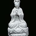 A blanc de chine porcelain guanyin, china, qing dynasty, 19th century