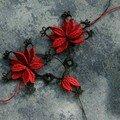 Fleurs rouges, à poser sur robe ou tee-shirt