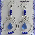 Boucles D'Oreilles <b>Ileana</b> Verre Murano Bleu Sapphire Métal Argenté Artisanat du Pérou