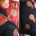 MOD-467C-Robe maille noire rouge Or Graphique Chic dentelle made in France