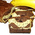 Cake à la banane marbré chocolat/spiruline