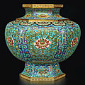 An exceptionally rare and large hexagonal cloisonné enamel 'lotus' baluster vase, Qing dynasty, <b>Qianlong</b> <b>period</b> (<b>1736</b>-<b>1795</b>)