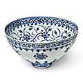 An exceptional and rare blue and white 'floral' bowl, Ming dynasty, <b>Yongle</b> <b>period</b> (1403-1424)