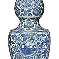 A large blue and white '<b>Shoulao</b>' double gourd vase, Ming dynasty, Jiajing period (1522-1566)
