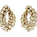 A Pair of Gold Plated Platinum and <b>Diamond</b> <b>Earclips</b>, Harry Winston