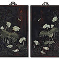 A pair of embellished<b>zitan</b>wall panels, Late Qing dynasty