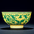 A Yellow-Ground Green-Enamelled '<b>Bird</b> And Flower' Bowl, Jiaqing Period, 1796-1820
