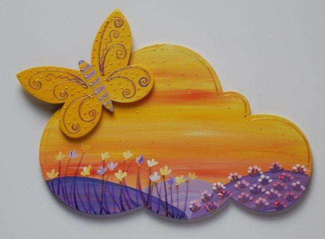plaque de porte papillon jaune et violet