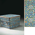 A rare large Chinese Imperial cloisonné enamel square ice chest, <b>Qianlong</b> <b>period</b> (1736 - 1795)