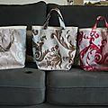 Petit cabas réversible, idéal sac à main ou petit sac à provision - modèle unique