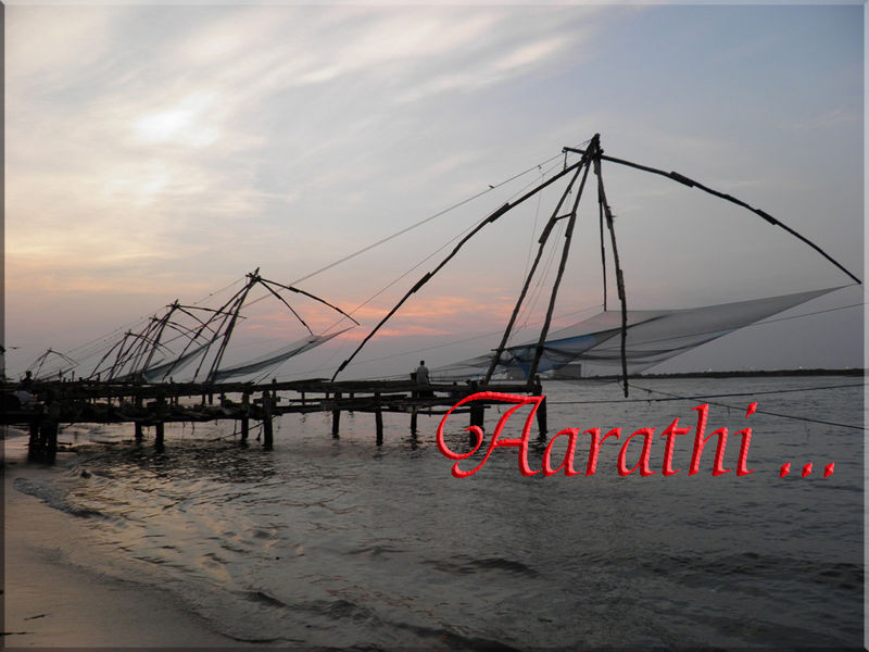 Fort Kochi Beach area lined with Chinese Fishing nets.