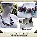 Collier ruban chocolat,perles turquoises