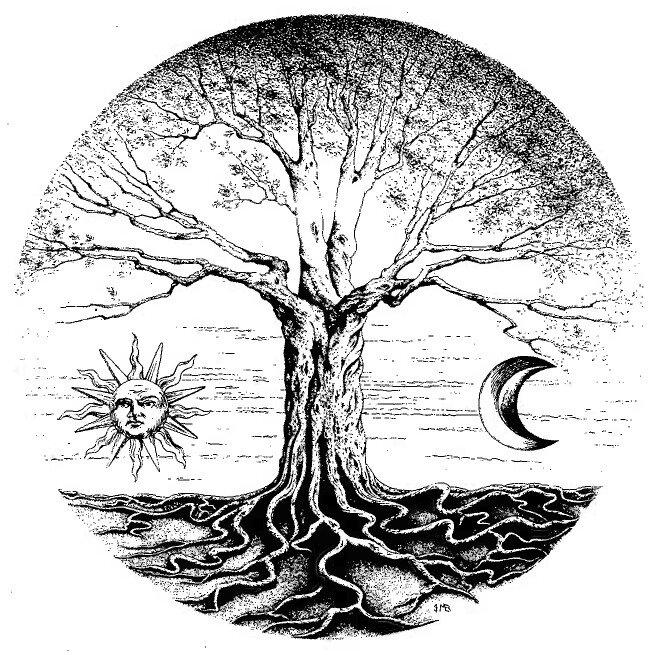 arbre, ciel terre, gauche, droite, soleil lune, arbre