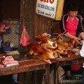 Carcasses de chiens au marché