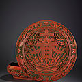 A magnificent carved <b>polychrome</b> lacquer 'spring' circular box and cover, Qianlong mark and period (1736-1795)
