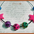 Collier enfant pois mauve rose bleu vert, étoile fushia n° 33 (N